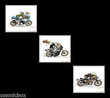 Tryptique Ex libris JOE BAR TEAM moto motard Suzuki gsx-r Honda 350 rd Norton bd