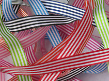 Pencil / candy stripe ribbon - 9mm wide - 2 metres+ Berisfords range of colours