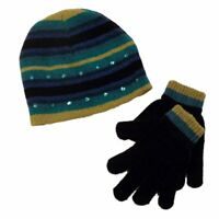 Faded Glory Girls Green & Blue Stripes Sequin Hat & Gloves Beanie Set