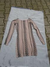Damen Long Pullover (Kleid) - braun mit Punkte und Dekor - 32/34 - kaum getragen
