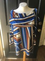 New Chico's Travelers Angular Lines Tunic Top Rich Mahogany Royal Blue 3 XL NWT