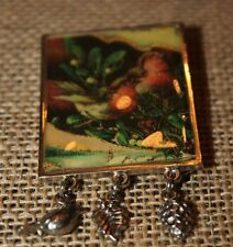 Vintage PEWTER BIRD PIN BROOCH with charms bird leaf pinecone good quality