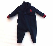 Boys Ralph Lauren Navy Blue Big Pony One Piece Coveralls Size 3 Months 3M Play