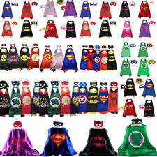 Superman Batman Spiderman Kids Cape & Mask Superhero Boy Girl Party Costume Set