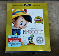 "DISNEY ""PINOCCHIO"" BLURAY + DVD + DIGITAL HD WITH SLIPCOVER BRAND NEW"