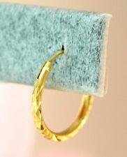 22K THAI BAHT DP YELLOW GOLD ~ DIAMOND CUT CLASSIC ENDLESS HOOP EARRINGS