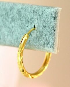22K THAI BAHT DP YELLOW GOLD ~ CUTE DIAMOND CUT CLASSIC ENDLESS HOOP EARRINGS