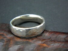 Men's ring sterling silver hammered band rustic organic texture size 10 solid
