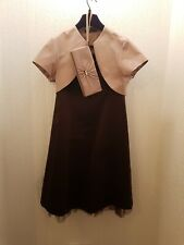 Debut Occassion Outfit Dress, Bolero Bag Size 12 Brown Champagne Wedding