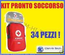 CASSETTA KIT DI PRIMO PRONTO SOCCORSO 34 PEZZI PER AUTO SUV MONOVOLUME CAMPER EC
