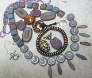 Czech Lilac/Purple, OWL,  and the Honey Bees LOT w/earwires and toggle