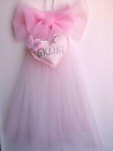 Fiocco nascita per bimba rosa tulle coccarda fuoriporta cuore femmina ghirlanda