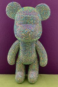 """GLOOMY BEAR Large 9.5"""" Handmade Figure Made with Swarovski Crystal Rhinestones"""