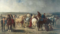 """high quality 36x24 oil painting handpainted on canvas"""" horse market """" N9635"""