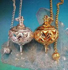 2 LARGE UNUSUAL SILVER AND GOLD  FILIGREE PENDULUMS WITH CHAINS AND POUCHES
