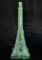"Glass Eiffel Tower Bottle Wine Olive Oil Decanter Vase Green 14""H - Paris Decor"