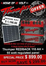 Thumper Redback 110 AH Portable Dual Battery system AGM + 55watt Solar Panel