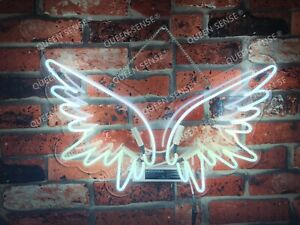 New Angel Wings Neon Sign Light Lamp Wall Decor Glass Artwork Party Hanging Bar