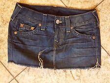 Sz 25 True Religion MANDY Skirt Women's Frayed destroyed Blue Denim Jean Skirt