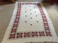 """Trendy 55""""x89"""" Cotton Linen Needlepoint Red Snowflake Tablecloth Beige"""