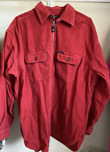 "Vintage 1990s Friends ""Structure"" Red Corduroy 1/4 Zip Long Sleeve Shirt Men's"