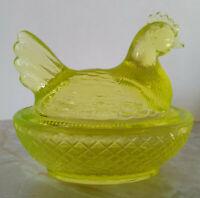Vintage Degenhart Vaseline Glass Chicken/Hen on Nest 3 Inch Dish
