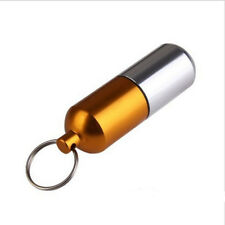Waterproof Aluminum Medicine Pill Bottle Container Box Case Key Chain Holder