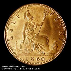 1860 Choice UNC-BU Queen Victoria Half Penny Freeman 258 CGS 85