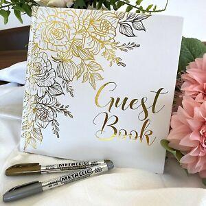 Libro De Firmas Para Boda Pasta Dura 32 Paginas Incluye 2 Marcadores Elegante