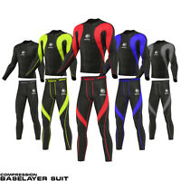 ROXX Mens Compression Tights+Top Base Layer Skin Tights Shirt Armour Full Suit