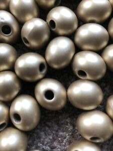 Large Oval Gold Christmas Beads For Craft/jewellery Making Over 200 Beads