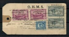 O.H.M.S. TAG 1941, PEACE issue $2.45 - $2x$1.00+2x20c+5c  cover Canada