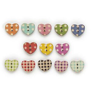 50pcs 2 Hole Mixed Heart Cute Wood Buttons Decor Sewing Scrapbooking 17x15mm