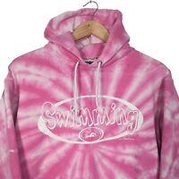 Pink & White Tie Dye Swimming Pullover Hoodie - Mens S