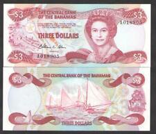 BAHAMAS  3  DOLLARS .1974 (1984) P 44a  Uncirculated  Prefix A