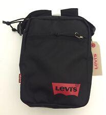 100% GENUINE-LEVI'S Mini Body Bag Canvas Side Bag Black Slim Messenger