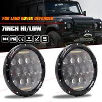 "Land Rover Defender LED Headlights RHD 7"" 90 110 BLACK CRYSTAL Hi/Lo DRL Lamps"