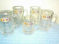 "Vintage A & W ROOT BEER Glass Mugs  Four 6"" Tall  One 4.5""  5 in lot"