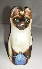 "Hunky Dory Litho Siamese Cat Tin Box 1986 By Dana Kubick Made In England 2.75"""