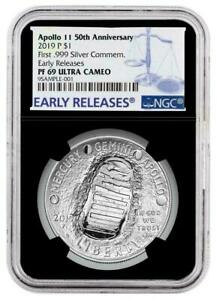 2019-P APOLLO 11 50TH ANNIV SILVER DOLLAR EARLY RELEASES NGC PF 69 ULTRA CAMEO