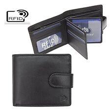 Prime Hide RFID Blocking Mens Washington Luxury Classic Black leather Wallet3088