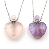 Natural Amethyst Crystal Quartz Perfume Bottle Necklace Pendant Healing Reiki