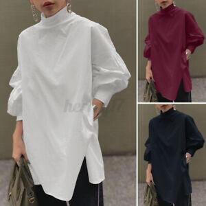 ZANZEA UK Women Mock Neck Loose Top Button Down Back Shirt Tee Slit Tunic Blouse