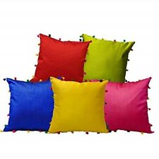 Set of 5 Colorful POM POM Pattern Silk Cushion Covers FOR Home Decor