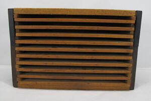 Antique Primitive 19th/20th C Wooden 10 Level/Shelves Drying/Dryer Rack/Case yqz