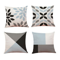 "Set of 4 Grey Geometric  Patchwork Flower 18""/45 cm Cushion Covers Home Decor IN"