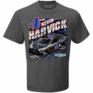 Kevin Harvick #4 Mobil 1 Checkered Flag Qualifying Nascar Gray Tee Adult XL
