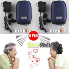 2 Pack Rechargeable Digital Mini In Ear Hearing Aid Adjustable Tone Amplifier US