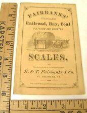 ANTIQUE 1870'S FAIRBANKS SCALE ILLUST ADVERTISING BOOKLET RAILROAD PLATFORM COAL