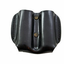 Armadillo Holsters Black Leather Double Mag Pouch for Single Stack Magazines